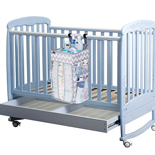 Hanging Diaper Caddy Organizer, Nursery Organizer, Playard Nursery Organizer, Baby Diaper Caddy, Diaper Stacker for Changing Table, Crib, Baby Shower Gifts for Newborn,(Large, Grey)