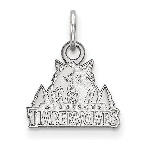 Roy Rose Jewelry 14K White Gold NBA LogoArt Minnesota Timberwolves X-small Pendant / Charm by Roy Rose Jewelry