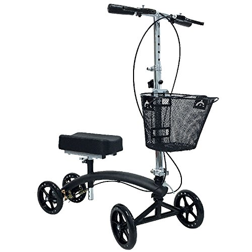 BodyMed Folding Knee Walker With Dual Braking System and Bas