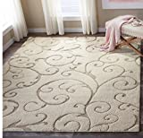 Floral Scroll Motif Area Rug, Featuring Elegant Solid Plush Design, Contemporary Luxury Inspired Shag Home Decor, Rectangle Indoor Living Room Bedroom Dining Doorway Carpet, Beige, Size 8′ x 10′ Review