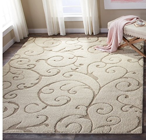 Floral Scroll Motif Area Rug, Featuring Elegant Solid Plush Design, Contemporary Luxury Inspired Shag Home Decor, Rectangle Indoor Living Room Bedroom Dining Doorway Carpet, Beige, Size 8' x 10' ()