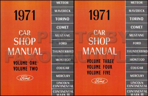 1971 FORD, MERCURY, LINCOLN FACTORY REPAIR SHOP & SERVICE MANUAL- Cougar, Montego, Comet, Meteor, Maverick, Torino, Mustang, Thunderbird, Continental, Mark III etc - 71