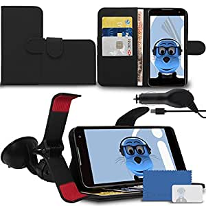 iTALKonline EE Harrier Mini Black PU Leather Executive Multi-Function Wallet Case Cover Organiser Flip with Credit / Business Card Money Holder Integrated Horizontal Viewing Stand, 3 Layer LCD Screen Protector, Claw 360 Degrees Rotating Case Compatible In Car Windscreen Suction Mount Holder and 1000 mAh Coiled In Car Charger LED Indicator and Overload Protection