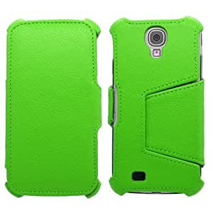 Samrick Hot Press Textured Grainy Slim Line Executive Specially Designed Soft Leather Book Wallet Viewing Stand Case with Credit Card/Business Card Holder, Screen Protector/Foil/Film/Guard and Microfibre Cloth for Samsung Galaxy S4 i9500/i9505/SGH-i337/i9505G - Green by SAMRICK