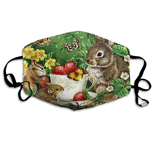 YUIOP Easter Chipmunk Painting Printed Mask Neutral Mask for Men and Women Polyester Dust-Proof Breathable Mask