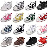 Baby Girls Boys Canvas Shoes Soft Sole Toddler First Walker Infant High-Top Ankle Sneakers Newborn Prewalker Crib Shoes (6-12 Months M US Infant, A-Brown)