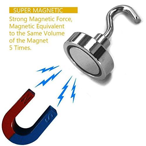 Magnetic Hooks, Strong Heavy Neodymium Hanging Hooks D20 Multi-Purpose Indoor, Outdoor, Kitchen, Bathroom, Bedroom, Garage Lockers, Office, 2 Piece by thE FooD Cop (Image #1)