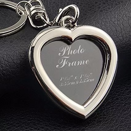 Fashion Keychain with Locket Photo Frame - Pack of 12 , Varity of style - Insert Photo Picture Frame Key Ring Keychain Key holder (Heart Shape) (Personalised Heart Key Ring)