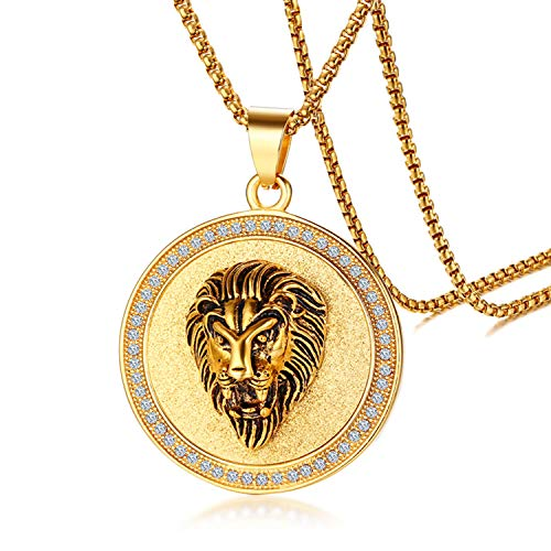 - Cupimatch Gold Plated Circle of Rhinestone Crystal Lion Head Medallion Round Pendant Necklace Chain, Mens Stainless Steel Gothic 24
