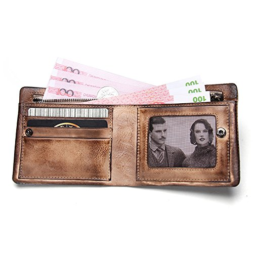 with Wallet Zipper Genuine Men Contacts Vintage Card Leather Purse Holder Short dI88Ywq