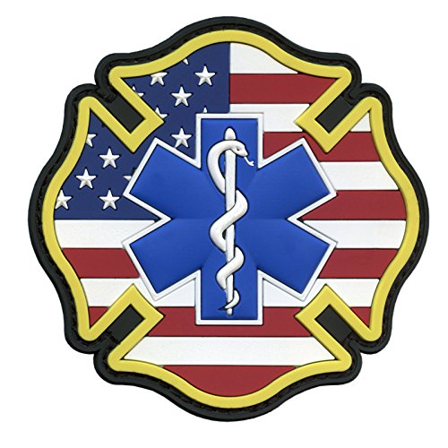 Fire Rescue Patch - EMS EMT Fire Fighter Department USA American Flag Rescue Firemen Paramedic Medic Morale PVC Hook&Loop P