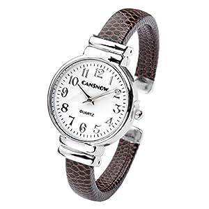 Top Plaza Fashion Women's Bangle Cuff Bracelet Analog Watch - Coffee