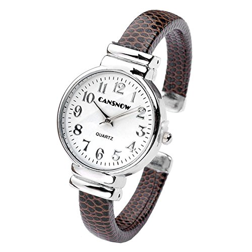 Top Plaza Fashion Women's Bangle Cuff Bracelet Analog Watch - Coffee