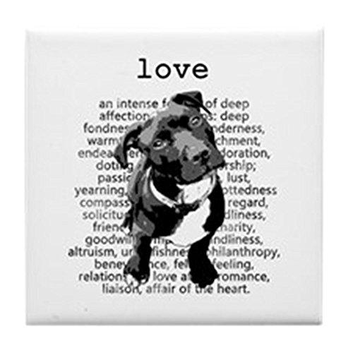 CafePress - Pit Bull Love - Tile Coaster, Drink Coaster, Small Trivet