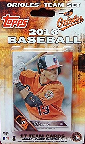 (Baltimore Orioles 2016 Topps Baseball Factory Sealed EXCLUSIVE Special Limited Edition 17 Card Complete Team Set with Manny Machado & Many More Stars & Rookies! Shipped in Bubble Mailer!)