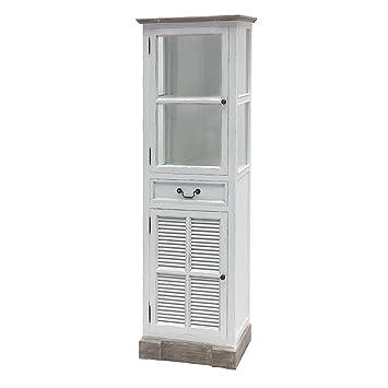 Lamellentür Weiß vitrinenschrank house weiß shabby chic mit lamellentür