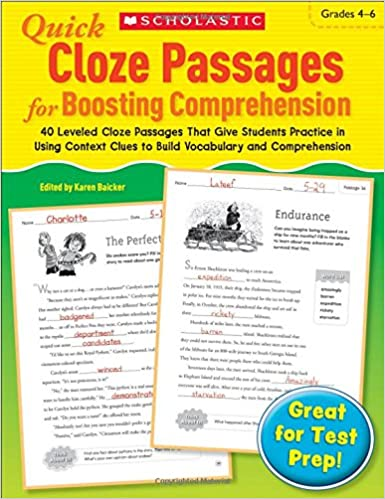 Amazon.com: Quick Cloze Passages for Boosting Comprehension 4-6 ...