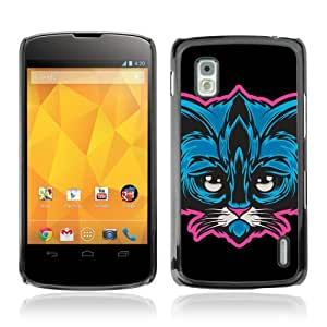 YOYOSHOP [Cute Neon Cat Illustration] LG Google Nexus 4 Case