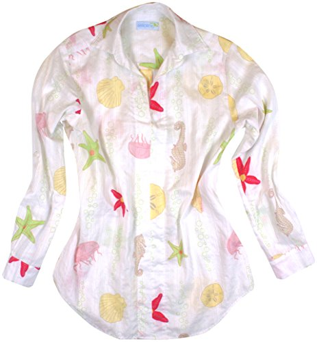 Seaplane's 'Seafood Special' Women's 100% Cotton Beach Cover Up Seahorse Seashell Starfish Ocean Print Tunic Shirt L