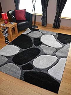 Black Silver Grey Pebbles Thick Quality Modern Carved Rugs Runner Small Extra Large Soft Mat Cheap