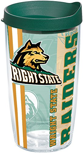 Tervis 1229817 Wright State Raiders College Pride Tumbler with Wrap and Hunter Green Lid 16oz, - State University Wright
