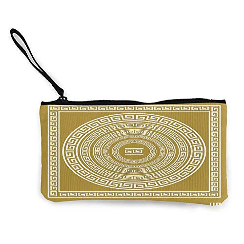 Greek Key,Zip Mini Wallet Frieze with Vintage Ornament Meander Pattern from Greece Retro Twist Lines W 8.5