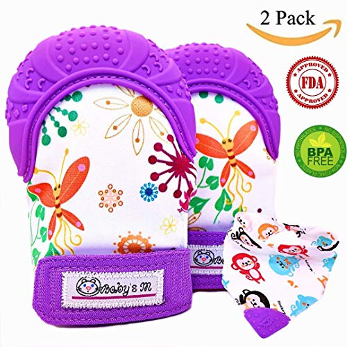 Baby Teething Mittens & Bandana Drool Bib with Teething Tip- Self Soothing Pain Relief & Scratching Protection with Food Grade Soft Silicone - Colorful & Unisex Teething Gloves (Purple)