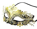 Coxeer Laser Cut Metal Lady Masquerade Halloween Mardi Gras Party Mask (Gold & Black)