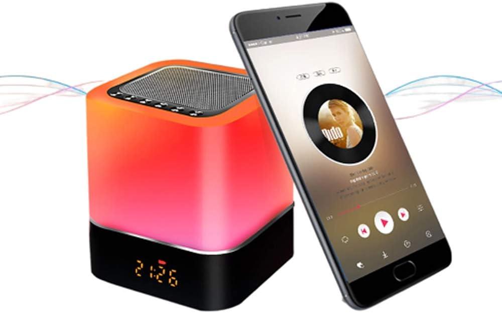 Luces nocturnas Altavoz Bluetooth, Despertador Altavoz Bluetooth Sensor táctil Lámpara de cabecera Lámpara de mesa LED RGB multicolor regulable, Llamada manos libres, Carga USB, Soporte para SD/AUX