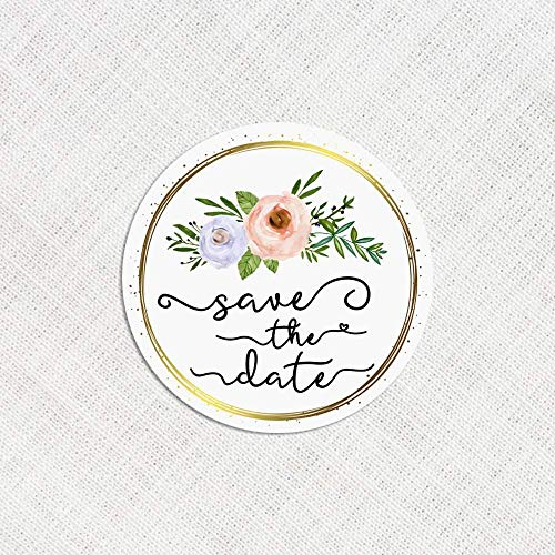 120 x Save The Date Stickers Wedding Invitation Stickers Bouquets Envelope Labels Wedding Decor Labels Floral Wedding Seals]()