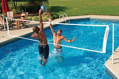 Amazon.com : Spalding In-Ground Pool Volleyball System, 24 ...