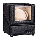 Single Watch Winder Newly Upgraded, with Flexible Plush Pillow, in Wood Shell and Black Leather, Japanese Motor, 4 Rotation Mode Setting, Fit Lady and Man Automatic Watches