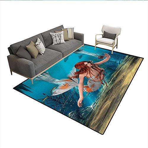 6 Sienna Light Burnt - Carpet,Lifelike Mermaid Holding a Sea Lily Magic Aquatic World Theme,Customize Rug Pad,Light Blue Burnt Sienna Yellowsize:6'6