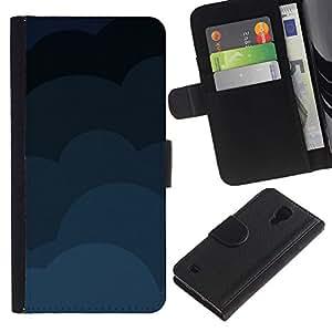 Protector de cuero de la PU de la cubierta del estilo de la carpeta del tirón BY RAYDREAMMM - Samsung Galaxy S4 IV I9500 - Nubes Patrón