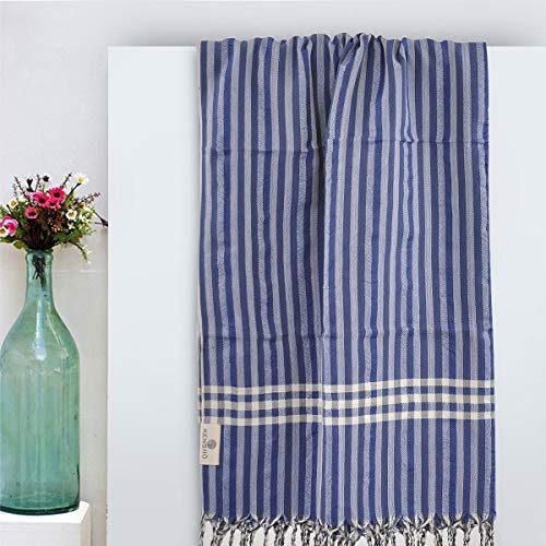 Kenshō Stripe 100% Turkish Cotton Handwoven XL Picnic Throw, Beach Towel, Quick Dry Peshtemal, 38