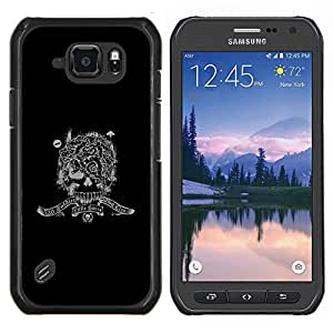 EJOOY---Cubierta de la caja de protección para la piel dura ** Samsung Galaxy S6Active Active G890A ** --Soldado de las Fuerzas Especiales del cráneo de Guerra del Ejército Regístrate Negro