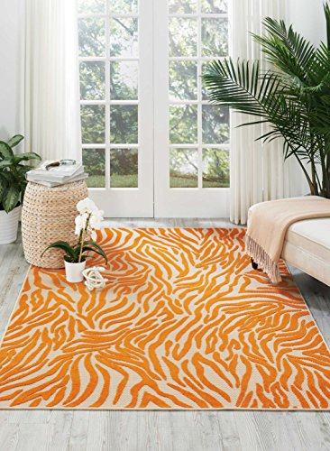 (Nourison Aloha (ALH04) Orange Rectangle Area Rug, 5-Feet 3-Inches by 7-Feet 5-Inches (5'3