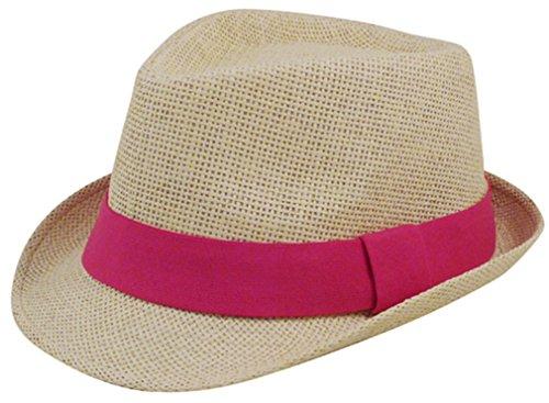 [EPYA Women and Men Classic Short Brim Straw Fedora Hat with Band, Fushia, Fushia, 58cm] (Gangster Hats For Sale)