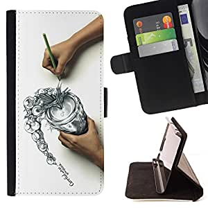 BETTY - FOR Samsung Galaxy S5 V SM-G900 - cool draw sketch careful think spill - Style PU Leather Case Wallet Flip Stand Flap Closure Cover