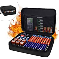 Jundun Fireproof Waterproof Hard Battery Storage Case with Tester for AA AAA C D 9V