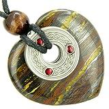 Celtic Triquetra Knot Protection Amulet Tiger Iron Heart Pendant Necklace