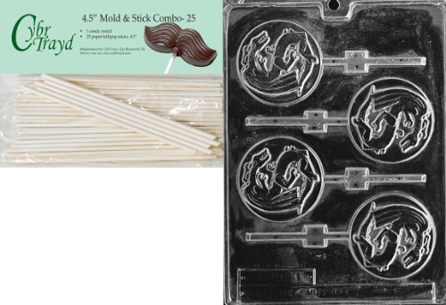 Cybrtrayd Chinese Dragon Lolly International Chocolate Candy Mold with 25 4.5-Inch Lollipop Sticks (Candy International Mold)