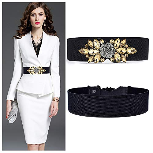 VITORIA'S GIFT Fashion Women Belt Solid Round Shape Buckle Waist Belt Casual Leather Belts for Women Strap Brand Classic Belt (Crystal-Yellow)
