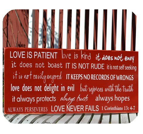Christian Bible Verse Mouse Pad, Love is Patient,Love is Kind,it does not Envy…1Corinthians 13:47 Mousepad Custom Freely Cloth Cover 9.84″ X 7.87″