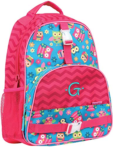 Monogrammed Stephen Joseph Owl All Over Print Backpack, with Teal Embroidered Initial G