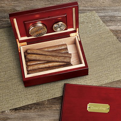 Engraved Cigar Humidor - Engraved Cherry Wood Humidor for Cigars GROOMSMAN GIFTS