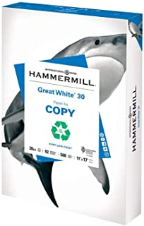 product image for Hammermill Printer Paper, Great White 30% Recycled Paper, 11 x 17-1 Ream (500 Sheets) - 92 Bright, Made in the USA