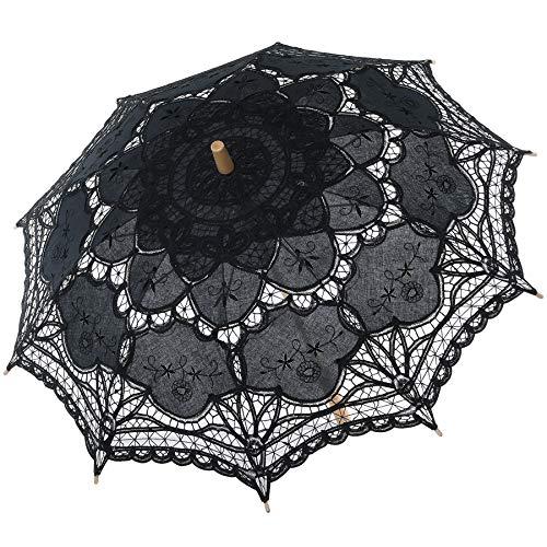 BABEYOND Lace Umbrella Parasol Vintage Wedding Bridal Umbrella for Decoration Photo Lady Costume 1920s Party (Black)