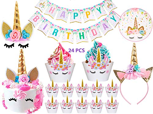 Bestus (29 pack) Unicorn Cake Topper with Eyelashes, Headband, Cupcake Wrappers and Happy Birthday Banner./Unicorn Party Supplies,for Birthday Party, Baby Shower, Kids Party Decoration ()