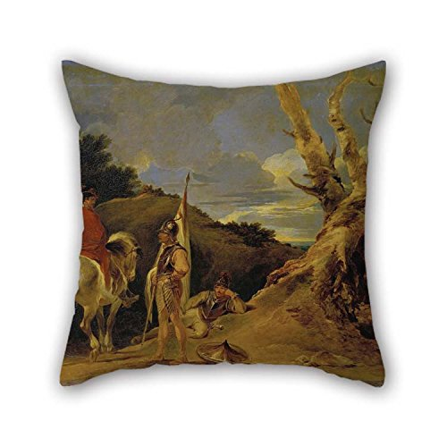 - Oil Painting Bourgeois, Sir Peter Francis - Landscape with Soldiers Throw Pillow Covers 20 X 20 Inches / 50 by 50 cm for Bar Seat Him Car Family Teens Boys Dining Room with 2 Sides